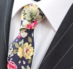 Tie Neck tie Slim Dark Blue with Large Floral Quality Cotton T6166