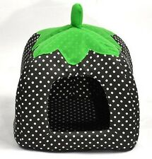 Soft Strawberry Pet Dog Bed House Kennel Cat Doggy Warm Cushion Basket L