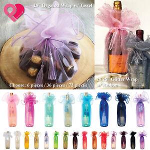 "72 BULK 28"" Organza Circle Wine Bottle Wrap Tassel Ties Wedding Party Favor Gift"