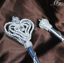 "Luxurious Pageant Rhinestone Scepter 34.5"" Wand Costume Party Silver Accessories"