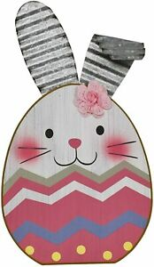 Wooden Easter Bunny Decor Eggs Corrugated Sign Wood Hand-Painted Ornaments
