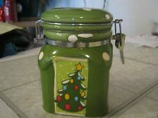 Green Christmas tree decor locking canister ceramic