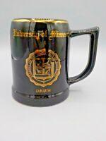 Large Vintage University Minnesota Duluth Beer Mug Stein Black & Gold Bunting A+