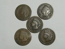 Lot of 5 Indian Head Cents 1885, 1886, 1887, 1888, 1889 - #6369-21