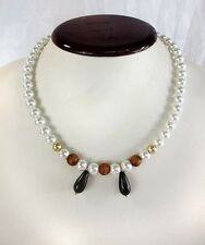 Created Pearls Necklace With Black & Gold toned Necklace