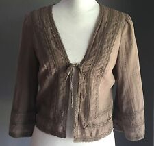 Lace Trim NOBUE Light Weight Brown Summer Cotton Cardi Size 10 Boho Hippy Vibe!