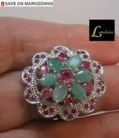 6.6 ct EMERALD RUBY SILVER RING