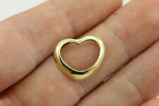 14k yellow gold 16mmx19mm open curved heart charm pendant vintage estate LOVE