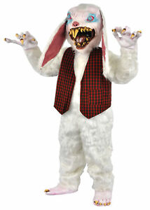 Peter Rottentail Rabbit Mascot Costume Scary White Bunny Halloween