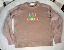 RARE 80's Vintage Authentic Wool Knit Gucci Logo Sweater Large XL