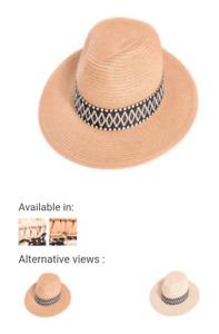 Ladies Summer Holiday Fedora Straw Hat with Aztec Print-57cm  (Inside Adjuster)