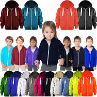 New Unisex Kids Boys Girls Zip Hoodie Hoodies Sweatshirt Fleece Jumper Top 3-13