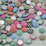 10/50/100pc 13mm round Plaid fabric covered button with flat back jewelry CT15