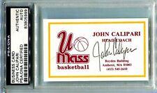 BUSINESS CARD SIGNED, JOHN CALIPARI FIRST HEAD BASKETBALL COACH JOB UMASS,NCAA