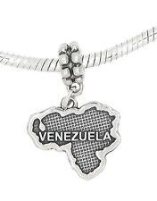 STERLING SILVER DANGLE VENEZUELA COUNTRY MAP EUROPEAN  BEAD