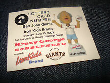 Rare Lottery Card From San Jose Giants Krazy George Bobblehead SGA 6/15/03