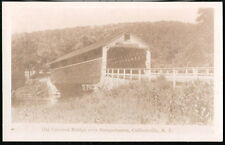 COLLIERSVILLE NY Susquehanna River Old Covered Bridge Vintage RPPC Postcard PC