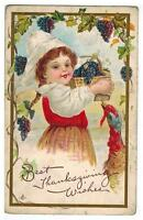 1910s Thanksgiving Postcard Embossed Girl with Grapes and Turkey Unposted