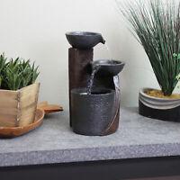 Sunnydaze Descending Bowls 3-Tier Indoor Tabletop Water Fountain - 9-Inch