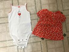 Carter's summer clothes lot of 2, 9 mo girl orange butterflies, O Happy Day Romp