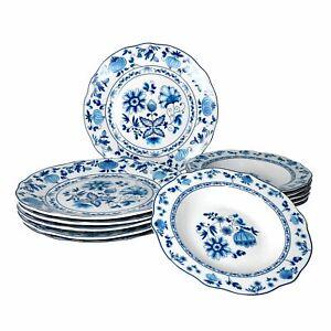 Tafelservice Zwiebelmuster 12tlg. weiß Dekor für 6 Personen Geschirr Porzellan