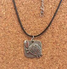 Silver Plated Detailed Happy Turtle Tortoise Pendant Choker Chocker Necklace