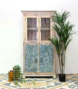 MADE TO ORDER  Maharaja Wardrobe carved Cabinet whitewash blue rustic storage
