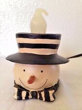 Crazy Mountain Snowman Lamp Figurine Candle Light With Extra Bulb