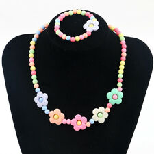 1 Set Cute Girl's Pink Lovely Flower Beaded Necklace&Bracelet Kids Jewelry Gift
