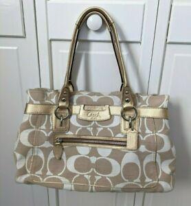 Coach 13289 Penelope Shantung Signature Shoulder Bag Beige Gold