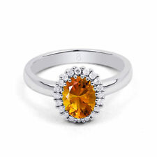 Citrine Solitaire with Accents Round Fine Gemstone Rings