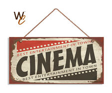 Retro CINEMA Sign, Movie Night, Movie Theater Decor, Rustic Style 5 x 10 Sign