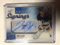 2015-16 UD ICE Hockey Rinkside Signings Jake Allen Auto St. Louis Blues