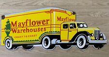 "Vintage Mayflower Warehouses Coast To Coast 35""x15"" Porcelain Enamel Sign."