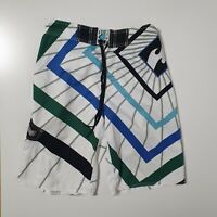 Billabong Mens Size W32 White Striped Beach Swim Trunks Surf Board Shorts