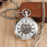 Classic Silver Mens Self Winding Mechanical Skeleton Open Face Pocket Watch Gift