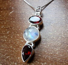 Moonstone and Garnet Triple Gem 925 Sterling Silver Pendant Corona Sun Jewelry