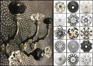 Iron hooks coat hooks with ceramic knobs, pewter, tree shape