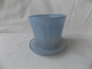Vintage Light Blue Glass Miniature Deco Flower Pot Flowerpot