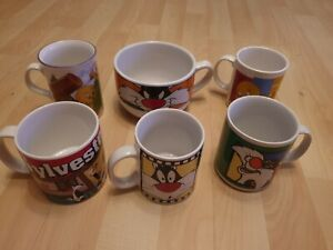 Rare Vintage 1990s Warner Bros Looney Tunes Mug Collection Sylevester and Tweety