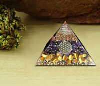 Amethyst,Tiger Eye Orgone Pyramid Crystal Energy Generator EMF Protection Reiki