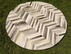 """Cowhide Patchwork Rug Round Gray Chevron Stripes Western Grey Area Rugs 48"""" 4ft"""