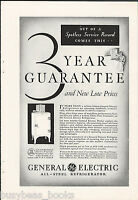 1931 General Electric Refrigerator advertisement, early MONITOR-TOP fridge, GE
