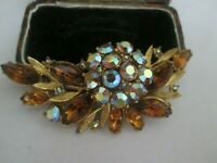 Vintage Signed Sphinx Gold Tone Aurora Borealis Brown Glass Flower Brooch Pin