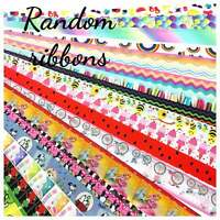 "Random Printed Grosgrain Ribbon Cheap Wholesale 7/8 1"" 1.5"" grab bag USA SELLER"