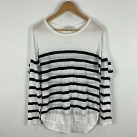 Forever New Womens Top Small White Striped Long Sleeve Round Neck