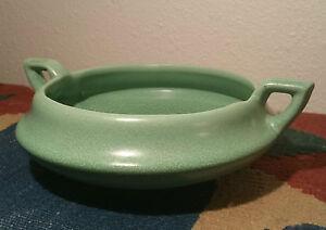 1914 EVE DECO Haeger Arts & Crafts Vtg Geranium Matt Leaf Green Art Pottery Bowl