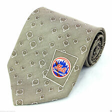 New York Mets Logo Men's Silk Neck Tie MLB Baseball Team Fan Gift Tan Necktie