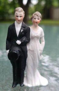 "SWEET 1940's CERAMIC WEDDING CAKE TOPPER BRIDE & GROOM~ 3"" Tall~ Blushing Cheeks"