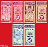 MONGOLIA SET OF 10 20 50 MONGO 1993  PICK 49 50 51 SC  /  UNC
